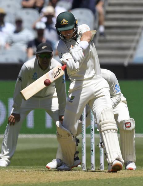 Australia's Marnus Labuschagne bats against New Zealand during play in the cricket test match in Melbourne, Australia, Thursday, Dec. 26, 2019. (AP Photo/Andy Brownbill)