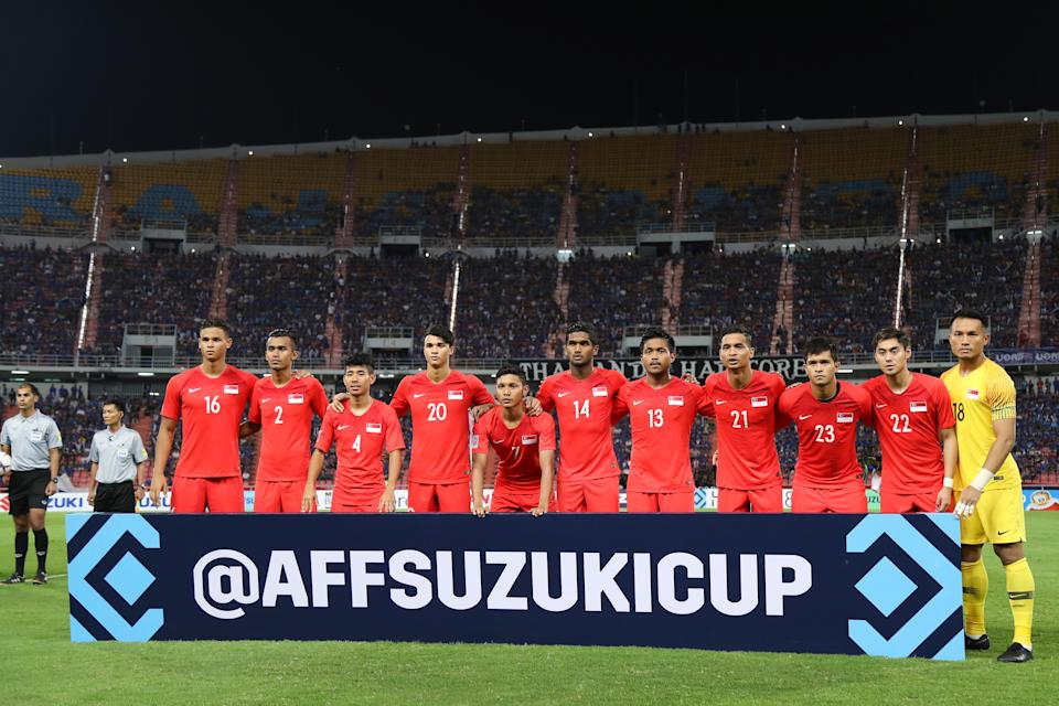 Singapore national footballers at the 2018 AFF Suzuki Cup.