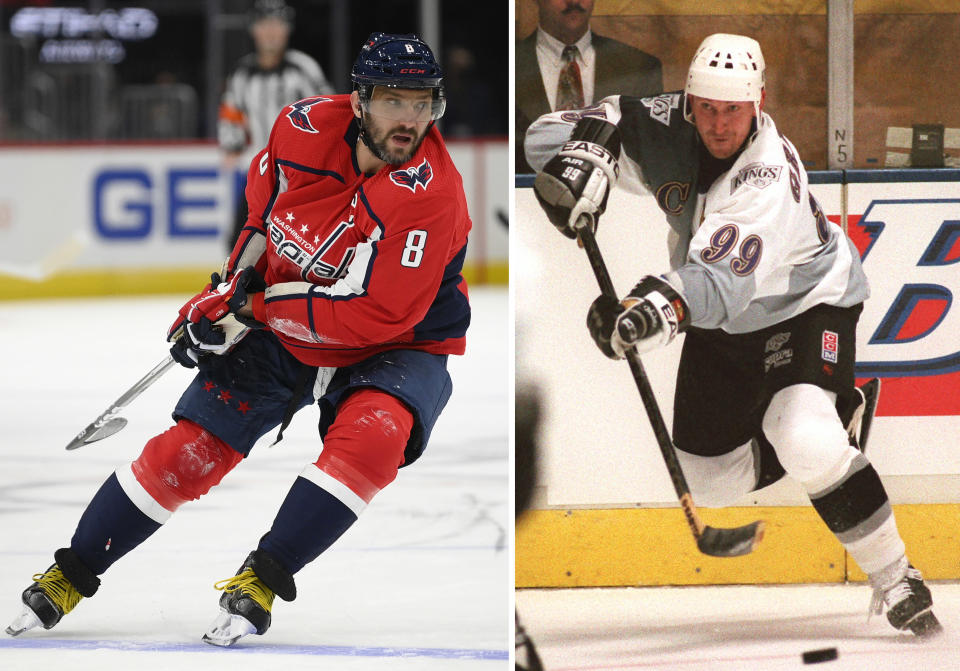 FILE - At left, in a Sept. 29, 2021, file photo, Washington Capitals left wing Alex Ovechkin (8) skates during the first period of an NHL preseason hockey game against the New Jersey Devils in Washington. At right, in a Saturday, Jan. 27, 1996, file photo, Los Angeles Kings' Wayne Gretzky passes during an NHL hockey game against the Mighty Ducks of Anaheim, in Inglewood, Calif. Alex Ovechkin starts a new five-year contract ready to chase Wayne Gretzky's career goals record that long seemed unbreakable. The Washington Capitals captain has 730 goals and needs 165 to pass Gretzky. (AP Photo/File)