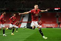 Manchester United midfielder Scott McTominay celebrates scoring against Leeds at Old Trafford