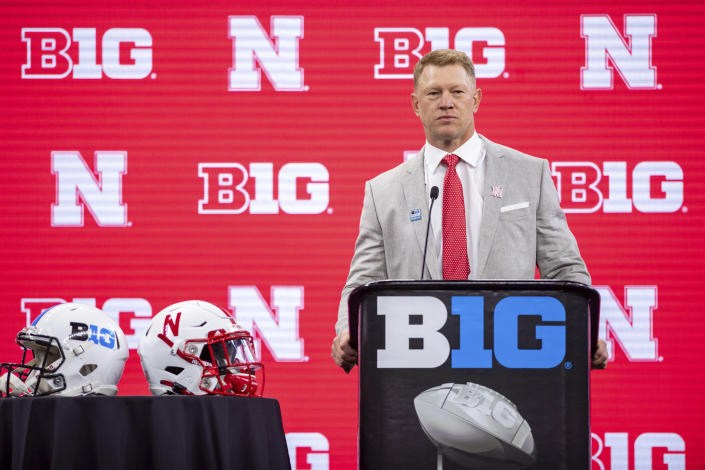 Nebraska head coach Scott Frost is shown during an NCAA college football news conference at the Big Ten Conference media days, Thursday, July 22, 2021, at Lucas Oil Stadium in Indianapolis. (AP Photo/Doug McSchooler)