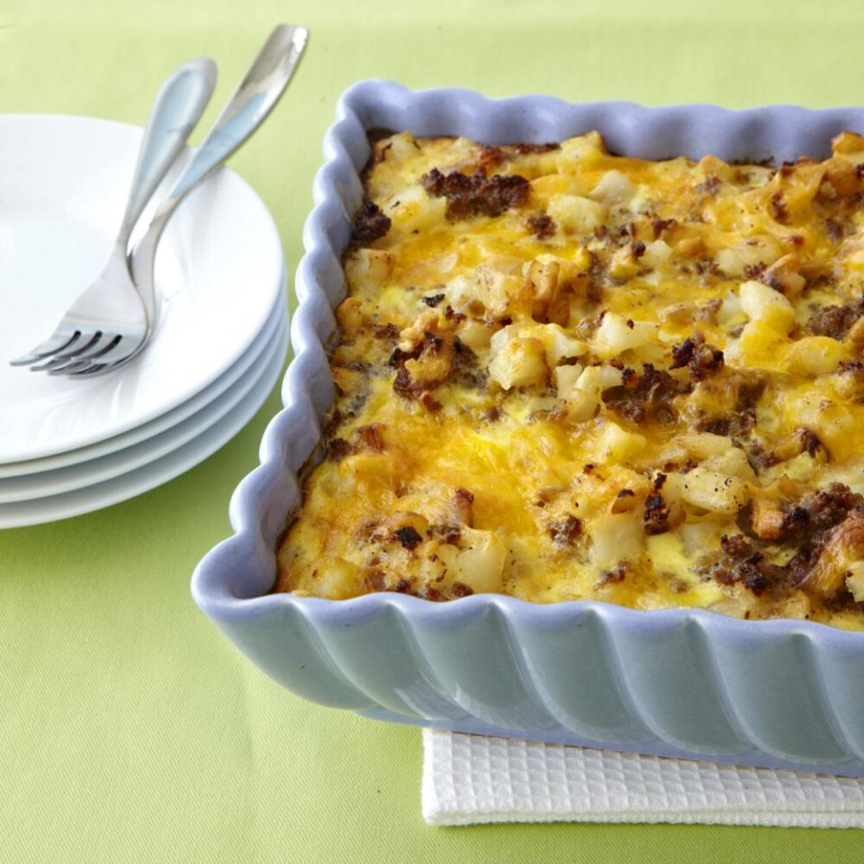 """<p>Combine frozen hash brown potatoes with sausage, eggs, and cheese for a hearty, 5-star-rated breakfast or brunch <a href=""""https://www.myrecipes.com/casserole-recipes/"""">casserole</a> that can be prepped <a href=""""https://www.myrecipes.com/make-ahead-recipes"""">ahead</a> and baked the next morning. Sauté one large onion and one bell pepper in the pork drippings for extra flavor and color. Tip from the recipe developer: To make mini frittatas, cook in 6-inch cast-iron skillets for 30 minutes at 375. Top with sliced avocados, pico de gallo, and a dollop of sour cream and sprinkle with green onions.</p> <p><a href=""""https://www.myrecipes.com/recipe/sausage-hash-brown-breakfast-casserole"""">Sausage-Hash Brown Breakfast Casserole Recipe</a></p>"""