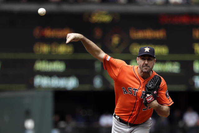 Houston Astros starting pitcher Justin Verlander throws against the Seattle Mariners in the fifth inning of a baseball game Thursday, June 6, 2019, in Seattle. (AP Photo/Elaine Thompson)