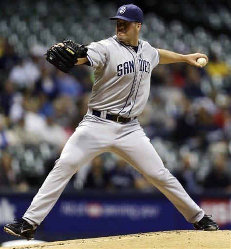 San Diego Padres starting pitcher Clayton Richard throws to the Milwaukee Brewers during the first inning of a baseball game, Monday, Oct. 1, 2012, in Milwaukee. (AP Photo/Jeffrey Phelps)