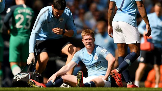 Manchester City's title challenge suffered a setback as Kevin De Bruyne sustained another injury against Tottenham on Saturday.