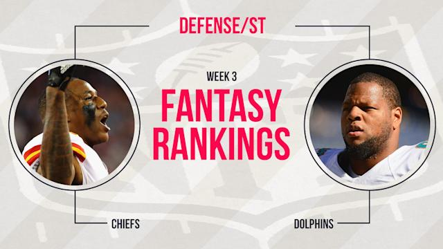 Our Week 3 fantasy rankings for defense/special teams might have fantasy owners stuck between deciding on the defense they drafted or a possible streamer. This week, many streamers make the top-10.