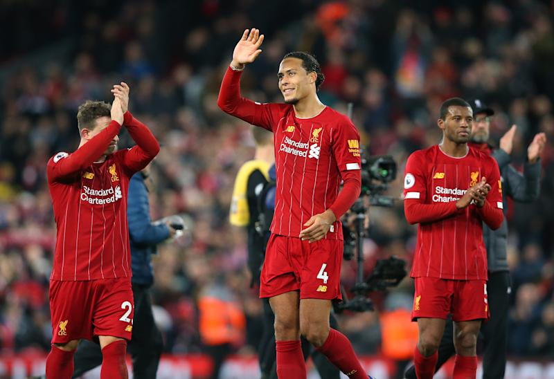 LIVERPOOL, ENGLAND - DECEMBER 04: Virgil van Dijk of Liverpool applauds their support after the Premier League match between Liverpool FC and Everton FC at Anfield on December 04, 2019 in Liverpool, United Kingdom. (Photo by Alex Livesey - Danehouse/Getty Images)