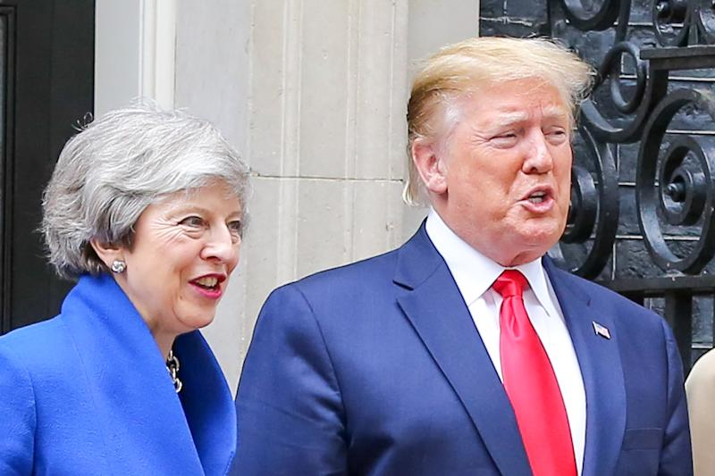 LONDON, UK, UNITED KINGDOM - 2019/06/04: US President Donald Trump and British Prime Minister Theresa May on the steps of No 10 Downing Street during the second day of the State Visit to the UK. (Photo by Dinendra Haria/SOPA Images/LightRocket via Getty Images)