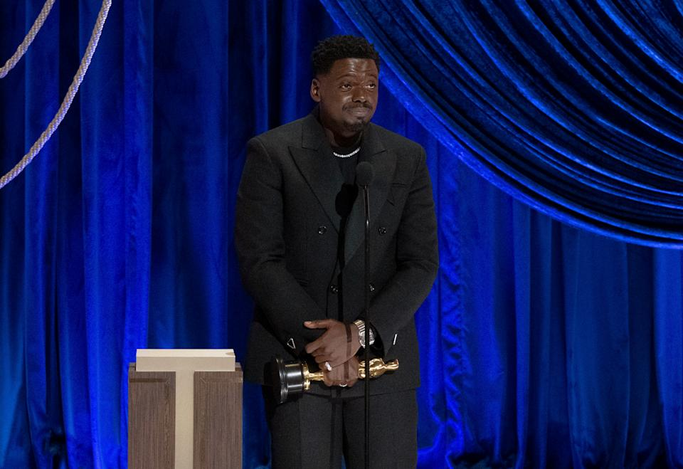 Daniel Kaluuya accepts the Supporting Actor award for 'Judas and the Black Messiah' during the 93rd Academy Awards on April 25, 2021. (Photo by Todd Wawrychuk/A.M.P.A.S. via Getty Images)