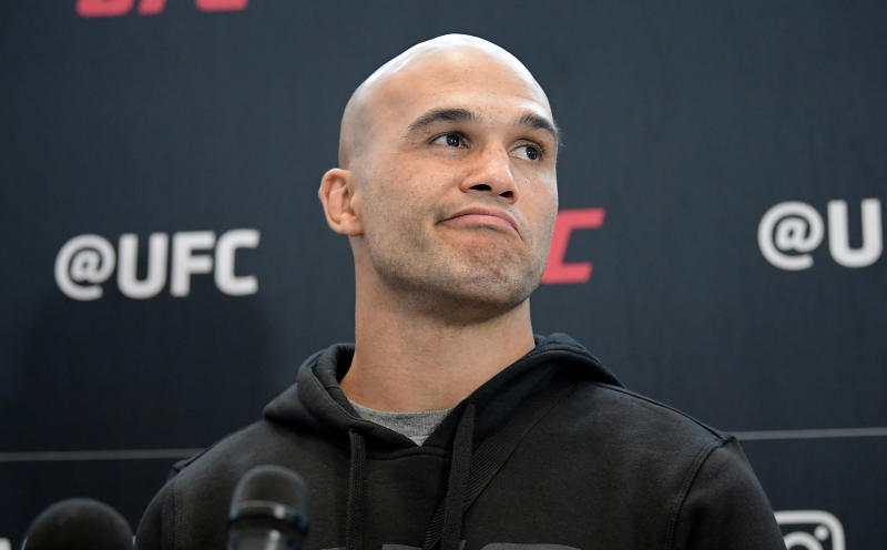 Robbie Lawler speaks to the media during UFC open workouts at Prudential Center on July 31, 2019 in Newark, New Jersey. (Getty Images)