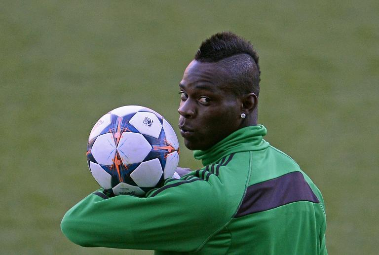 Mario Balotelli, pictured during a training session at the Vicente Calderon stadium in Madrid, on March 10, 2014 (AFP Photo/Pierre-Philippe Marcou)