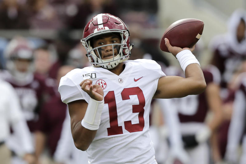 Alabama quarterback Tua Tagovailoa (13) passes downfield against Texas A&M during the second half of an NCAA college football game, Saturday, Oct. 12, 2019, in College Station, Texas. (AP Photo/Sam Craft)
