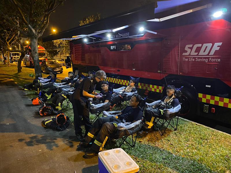 SCDF responders getting treatment at the RPV. (PHOTO: SCDF Facebook page)