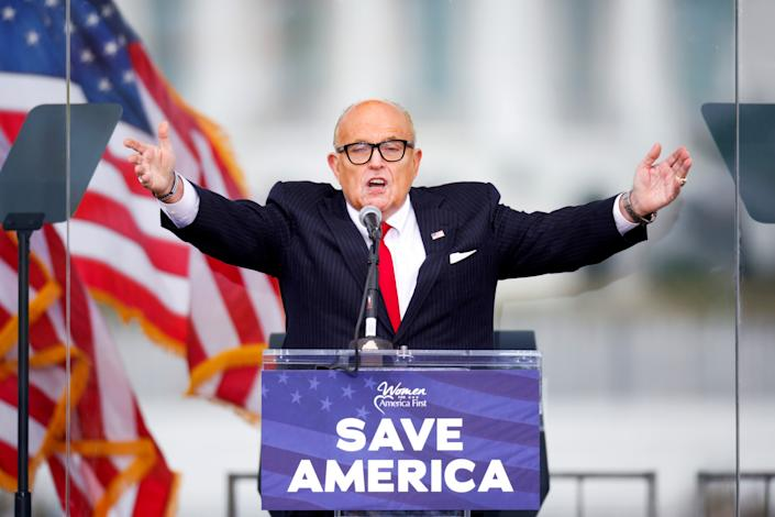 Rudy Giuliani addresses supporters of then-President Donald Trump in Washington on Jan. 6, 2021.