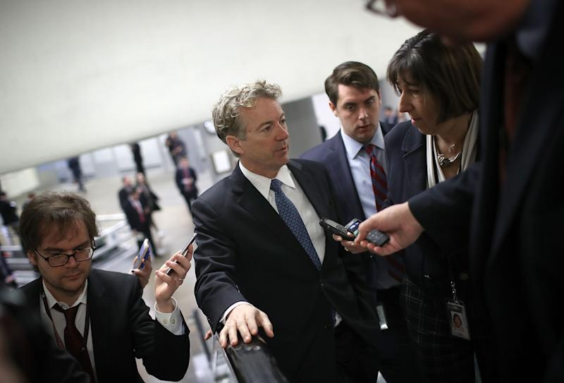 Sen. Rand Paul (R-KY) speaks with reporters on his