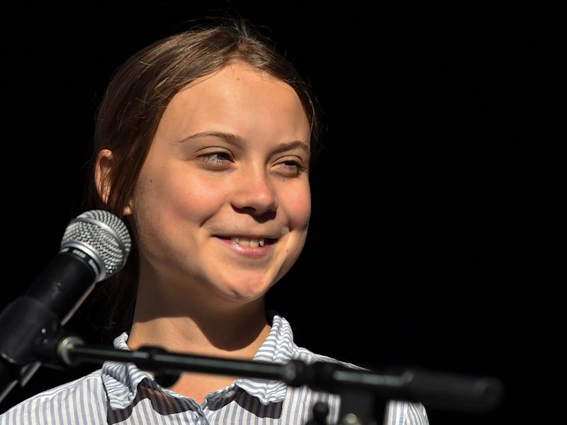 Swedish climate activist Greta Thunberg takes to the podium to address young activists and their supporters during the rally for action on climate change in Montreal, Canada. Hundreds of thousands of people are expected to take part in what could be the city's largest climate march. (Photo: Minas Panagiotakis via Getty Images)