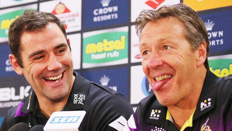 Cameron Smith and Craig Bellamy for the Storm. (Getty Images)