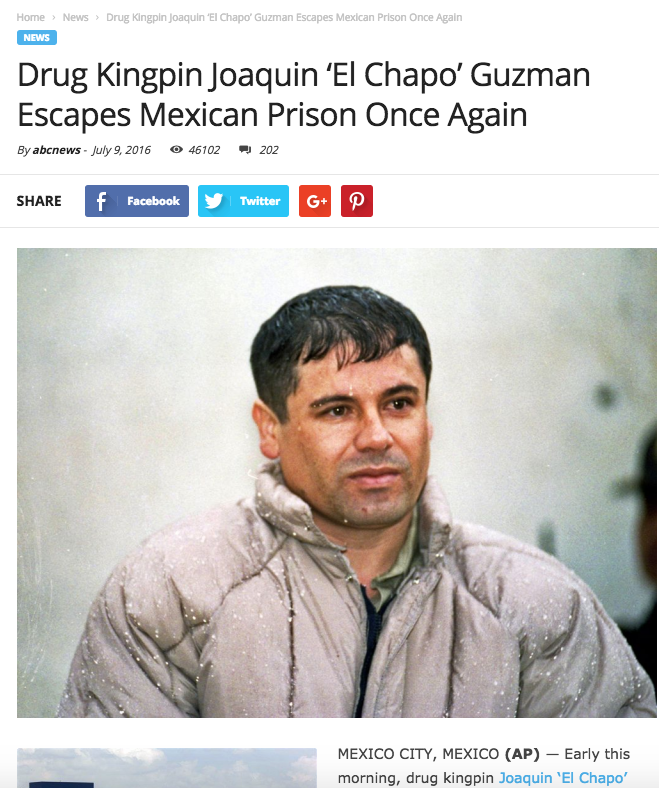 El Chapo fake escape story