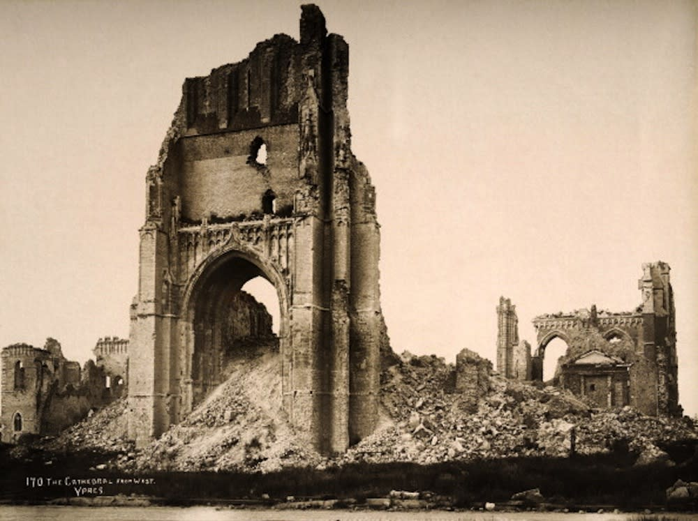 St Martin's cathedral, at Ypres in Belgium, photographed soon after the end of World War One, circa March 1919. This image is from a series documenting the damage and devastation that was caused to towns and villages along the Western Front in France and Belgium during the First World War. (Photo by Popperfoto/Getty Images)