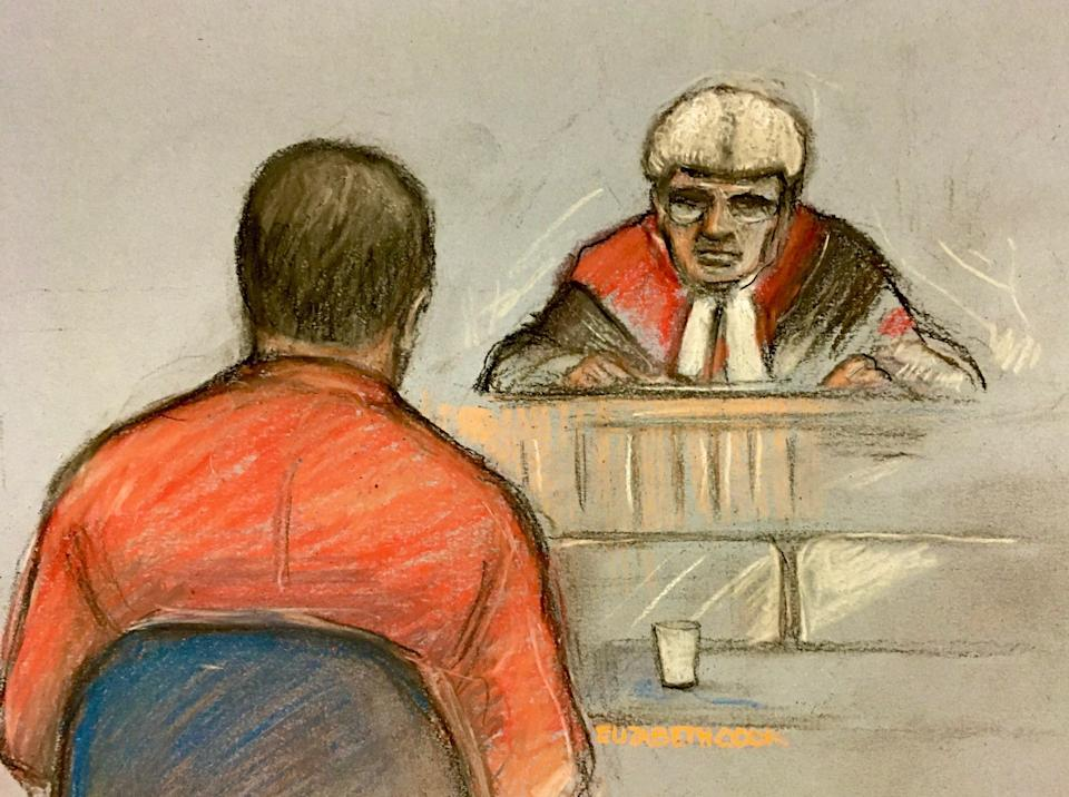 Paul Farrell, facing a judge, depicted at a previous hearing at Wood Green Crown Court. (PA/Elizabeth Cook)