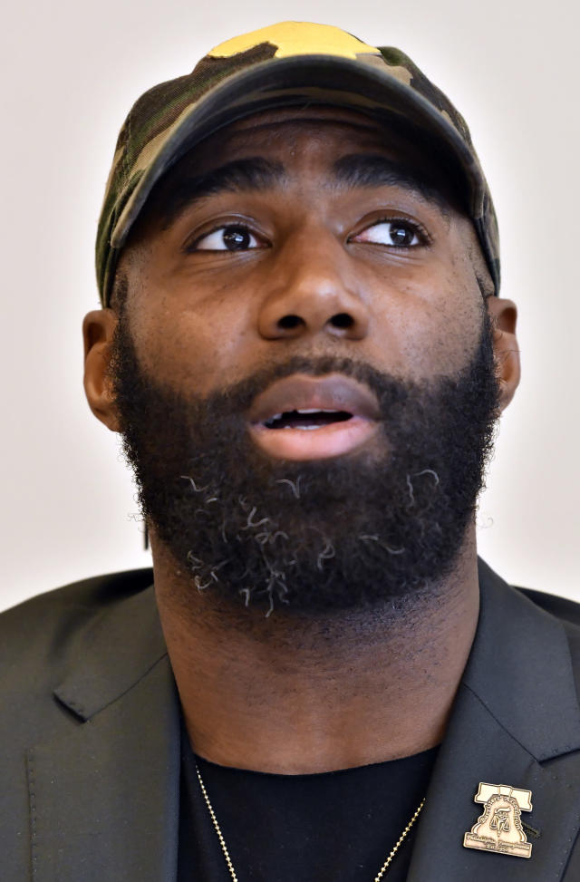 Philadelphia Eagles' Malcolm Jenkins, speaks during a session to discuss criminal justice issues with other current and former NFL football players at Harvard Law School, Friday, March 23, 2018, in Cambridge, Mass. (AP Photo/Josh Reynolds)