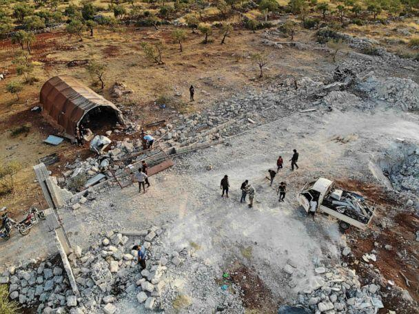PHOTO: An aerial view taken on October 27, 2019, shows the site that was hit by helicopter gunfire which reportedly killed nine people near the northwestern Syrian village of Barisha in the Idlib province along the border with Turkey. (Omar Haj Kadour/AFP via Getty Images, FILE)