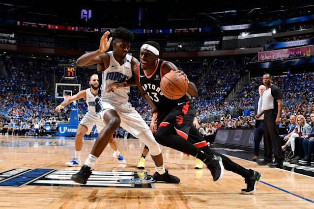 Raptors forward Pascal Siakam drives against the Magic's Jonathan Isaac during Toronto's Game 3 win on Friday. (Getty Images)