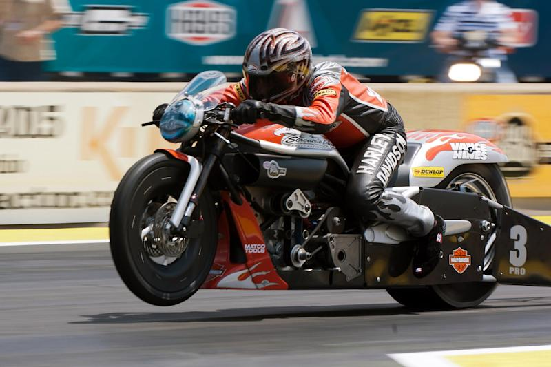 Ed Krawiec (#3, SCREAMIN EAGLE/VANCE & HINES) competes in Pro Stock Motorcycle during the Fifth Annual Summit Racing Equipment NHRA Nationals at Summit Racing Equipment Motorsports Park in Norwalk OH, June 26.