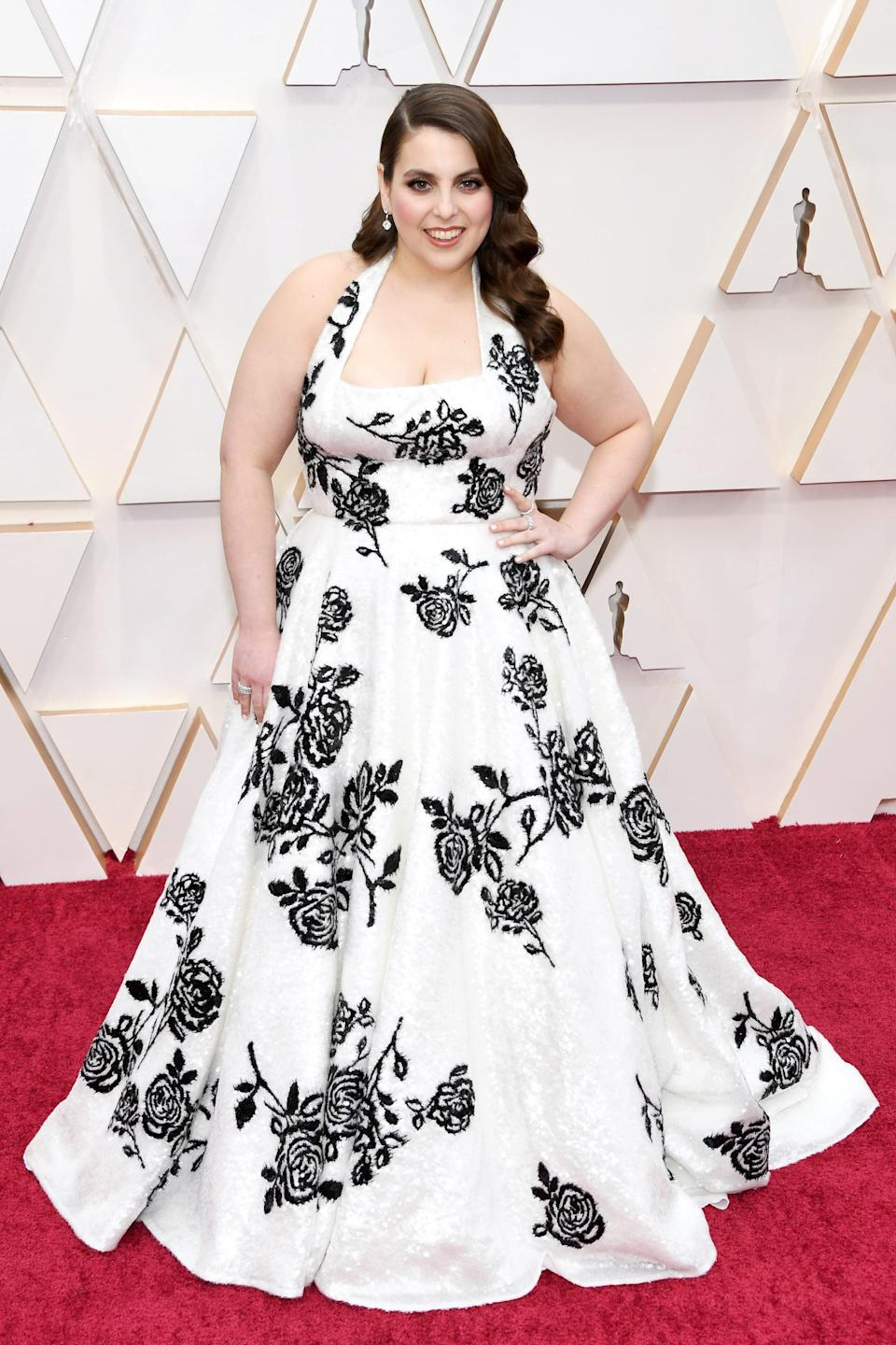 <p>The shimmer on Beanie Feldstein's Miu Miu dress is undeniable when you zoom in close on those sequins!</p>