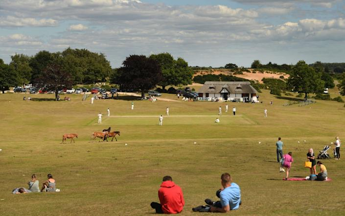 Lyndhurst cricket team were one of the first to play, taking on fellow local side Sway at Bolton's Bench in the New Forest - Russell Sach