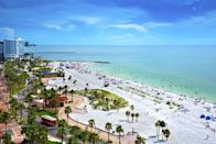 <p>Appropriately named Clearwater Beach, this Gulf Coast destination is home to white sands, plenty of family-friendly activities, and, of course, idyllic waters. Be sure to also visit Caladesi Island State Park off the north shore of Clearwater to enjoy an untouched stretch of Florida's western coast if you're seeking a quieter day at the beach.</p>