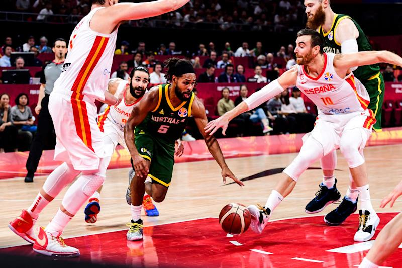 Patty Mills during the semi-finals march between Spain and Australia of 2019 FIBA World Cup at the Cadillac Arena on September 13, 2019 in Beijing, China. (Photo by Di Yin/Getty Images)