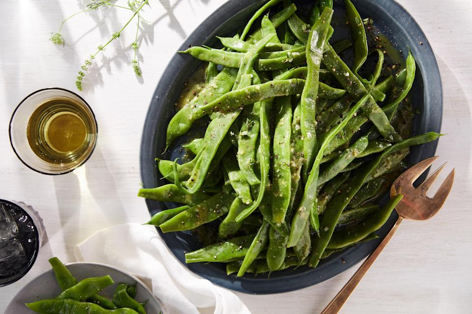 """One of the harbingers of Pre-Fall, romano beans (or flat beans) are best eaten simply, so their mild, sweet flavor can shine. <a href=""""https://www.epicurious.com/recipes/food/views/flat-beans-with-mustard-thyme-vinaigrette?mbid=synd_yahoo_rss"""" rel=""""nofollow noopener"""" target=""""_blank"""" data-ylk=""""slk:See recipe."""" class=""""link rapid-noclick-resp"""">See recipe.</a>"""
