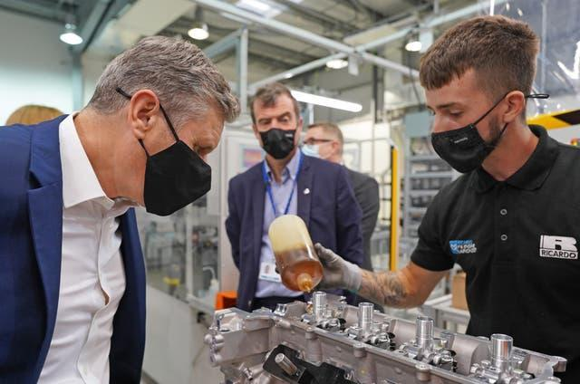 Labour Party leader Keir Starmer (left) during a visit to engineering firm Ricardo in Shoreham-by-Sea, West Sussex, ahead of the Labour Party conference