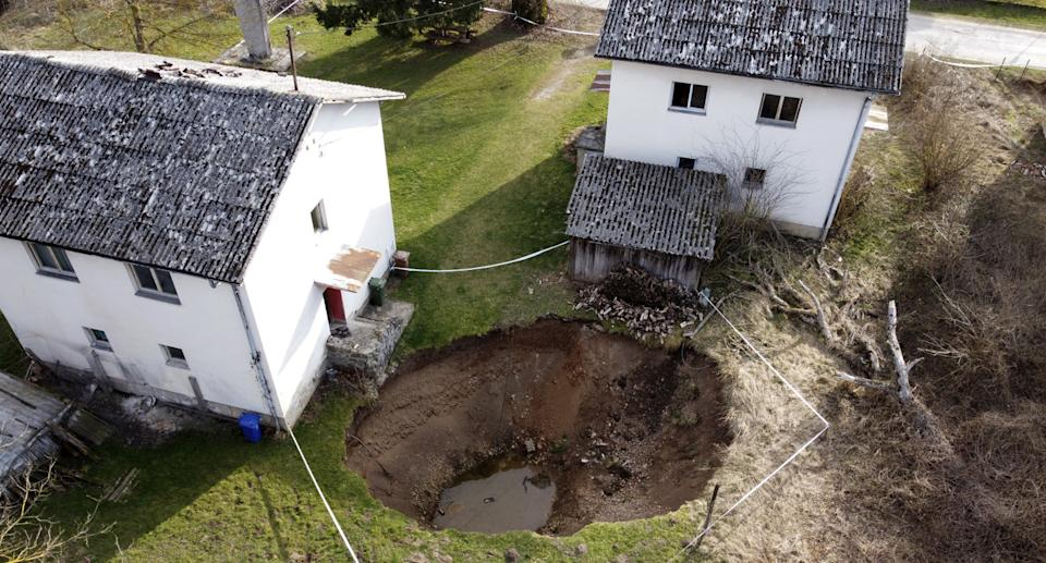 This aerial photo shows a sinkhole in the village of Mecencani, central Croatia