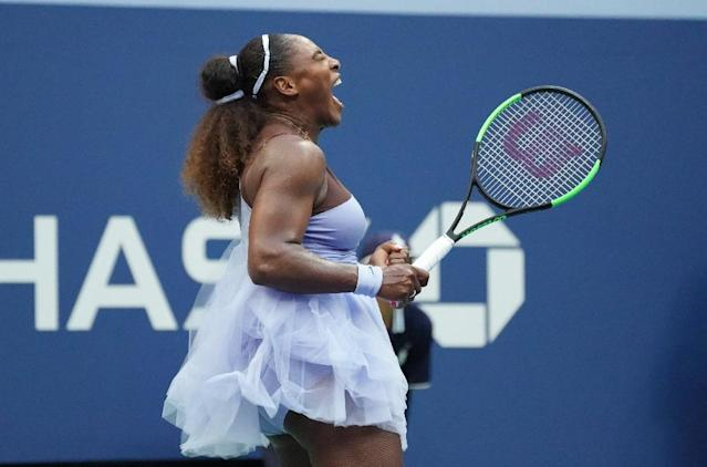 Come on! Serena Williams on her way to victory over Kaia Kanepi in the fourth round of the US Open on Sunday. (AFP Photo/TIMOTHY A. CLARY)