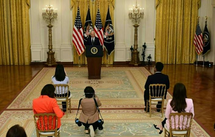 Journalists were socially distanced for US President Joe Biden's first news conference