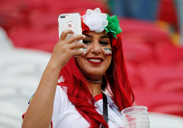 Soccer Football - World Cup - Group B - Iran vs Spain - Kazan Arena, Kazan, Russia - June 20, 2018 Iran fan takes a photograph inside the stadium before the match REUTERS/Jorge Silva