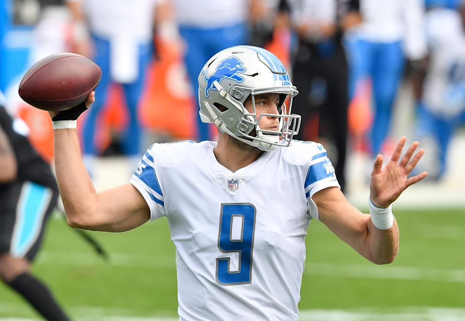 CHARLOTTE, NORTH CAROLINA - NOVEMBER 22:  Matthew Stafford #9 of the Detroit Lions looks to pass during the first half against the Carolina Panthers at Bank of America Stadium on November 22, 2020 in Charlotte, North Carolina. (Photo by Grant Halverson/Getty Images)