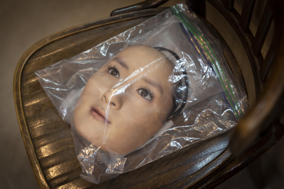 TOKYO, JAPAN - JANUARY 28: Hyper-realistic face mask is pictured on January 28, 2021 in Tokyo, Japan. The masks, made by Japanese retailer Kamenya Omote, are modelled on actual people who are paid 40,000 Yen for the right to use their face and are created on a 3D printer before being sold for up to 98,000 Yen. Although providing quite a party piece, unfortunately they don't offer protection from coronavirus. (Photo by Yuichi Yamazaki/Getty Images)
