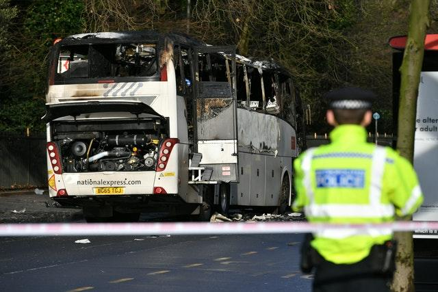 Burnt-out remains of bus