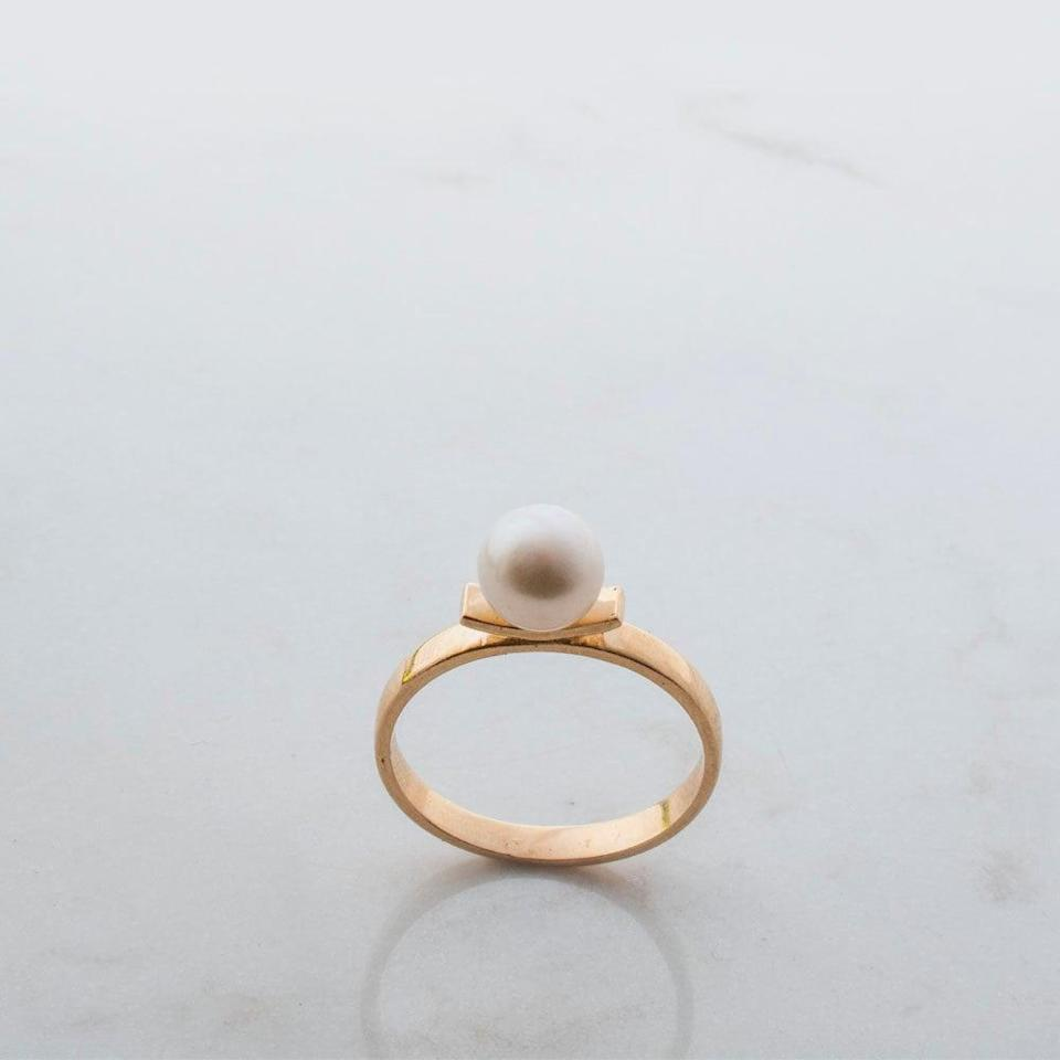 <p>This <span>Gold Pearl Ring</span> ($426 and up) is reminiscent of those back in the '30s and '40s thanks to the simple and elegant setting.</p>