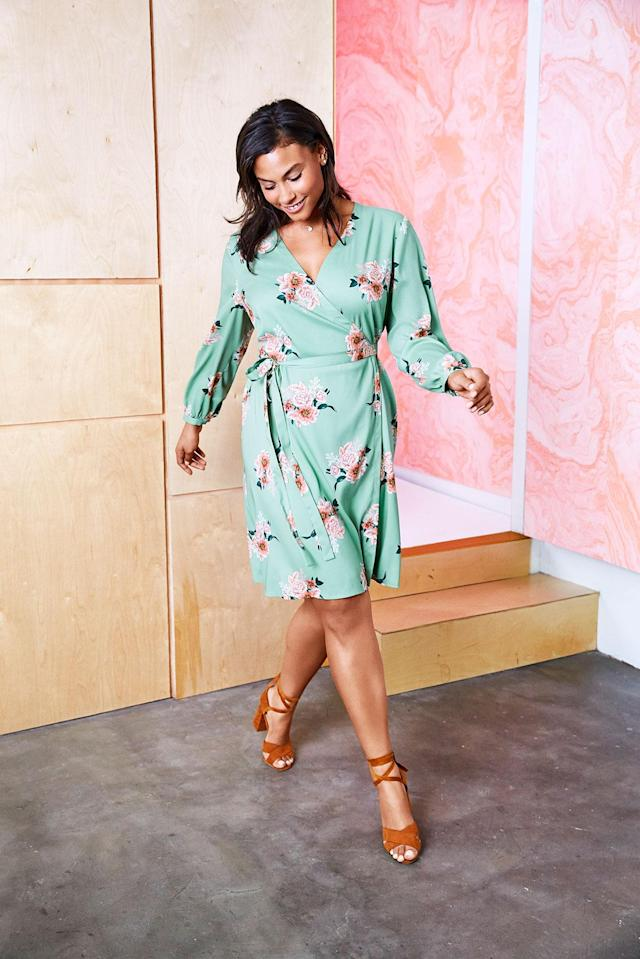 A green floral wrap dress from new Loft Plus line. (Photo courtesy of Loft)
