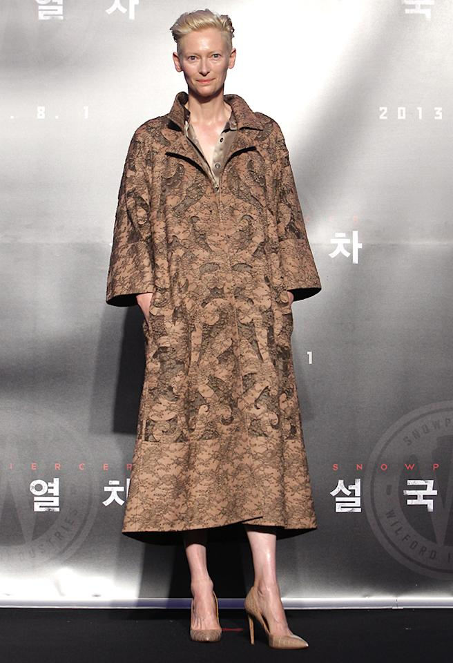 SEOUL, SOUTH KOREA - JULY 29:  Actress Tilda Swinton attends the 'Snowpiercer' press conference at Conrad Hotel on July 29, 2013 in Seoul, South Korea. The film will open in South Korea on August 1.  (Photo by Chung Sung-Jun/Getty Images)