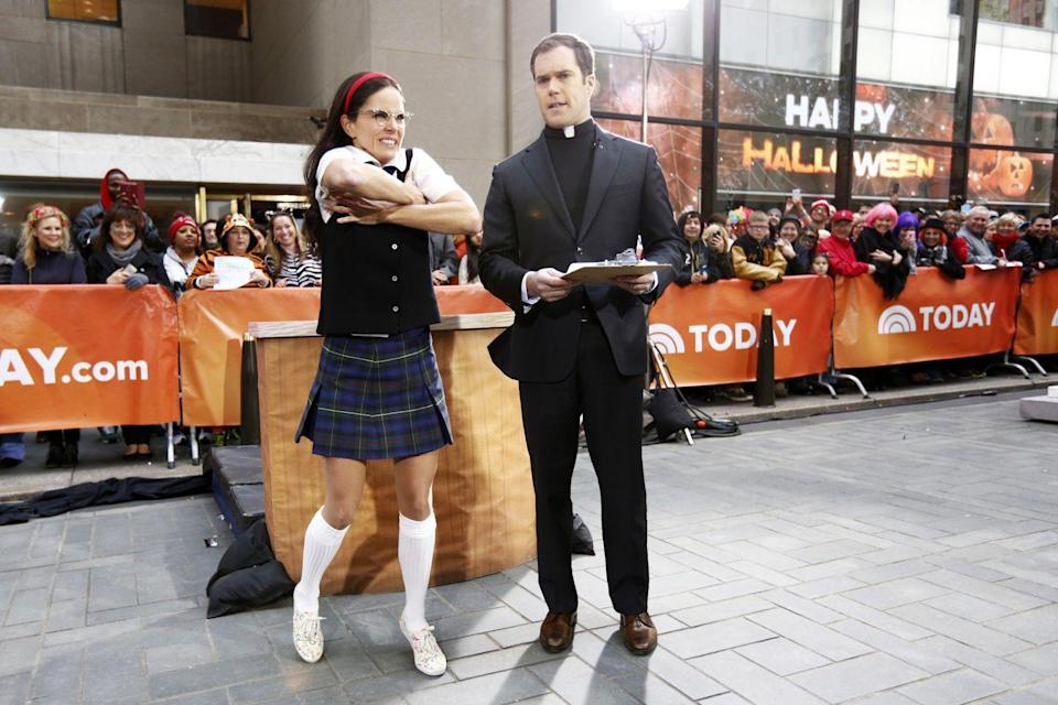 <p>Sometimes when Natalie Morales gets nervous, she dresses up as Mary Katherine Gallagher and sticks her hands under her armpits just like Molly Shannon's character did in <em>Superstar</em>. Of course, Natalie's costume wouldn't be complete without Peter playing along as the priest. </p>