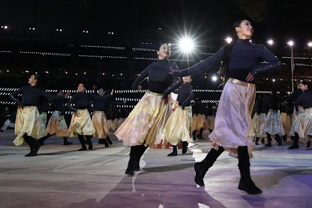 <p>Entertainers perform during the Closing Ceremony of the PyeongChang 2018 Winter Olympic Games at PyeongChang Olympic Stadium on February 25, 2018 in Pyeongchang-gun, South Korea. (Photo by Maddie Meyer/Getty Images) </p>