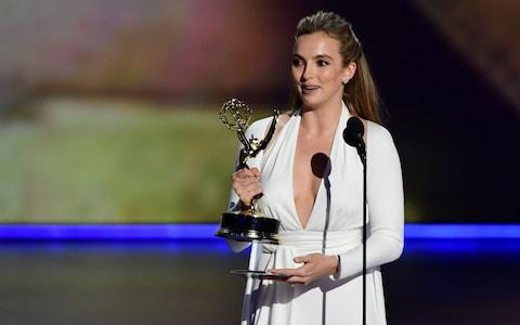 Actress Jodie Comer accepts the award for Outstanding Lead Actress In A Drama Series for Killing Eve - Credit: AFP