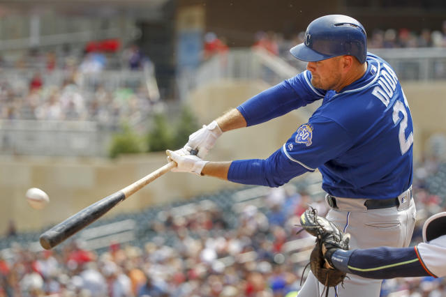 Kansas City Royals' Lucas Duda hits a two-run home run against the Minnesota Twins in the first inning of a baseball game Sunday, Aug. 5, 2018, in Minneapolis. (AP Photo/Bruce Kluckhohn)