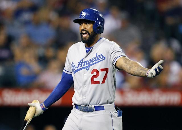 lLos Angeles Dodgers' Matt Kemp reacts to being ejected after striking out in the eighth inning of a baseball game against the Los Angeles Angels on Thursday, Aug. 7, 2014, in Anaheim, Calif. (AP Photo/Alex Gallardo)