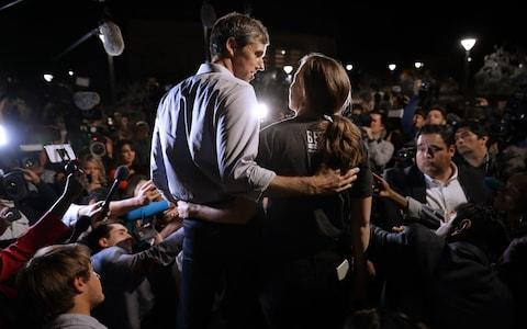 US Senate candidate Beto O'Rourke and his wife Amy Sanders - Credit: Chip Somodevilla/Getty
